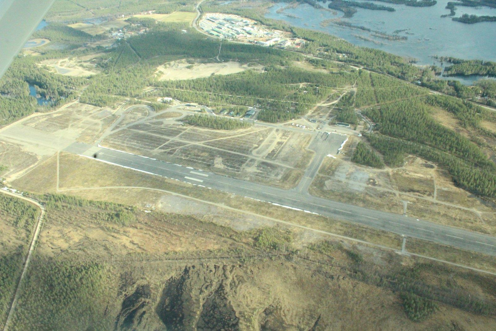 Pudasjärven lentokenttä korkeuksista