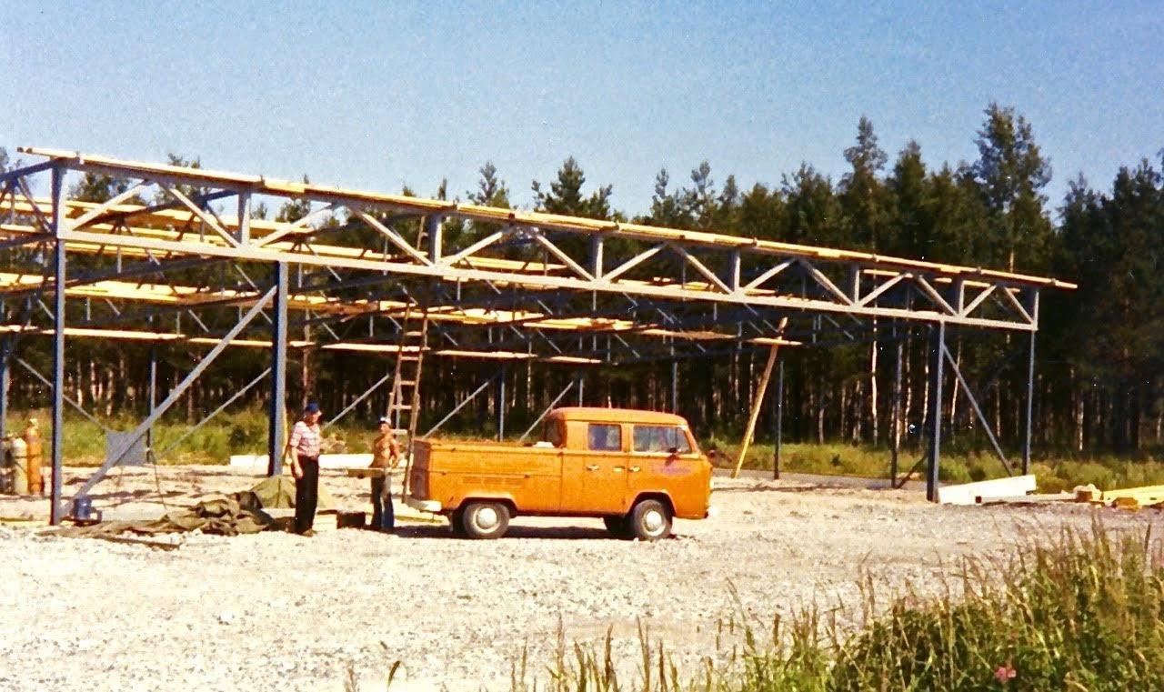 Lentokonehallin rakennustyömaa EFHN 1978
