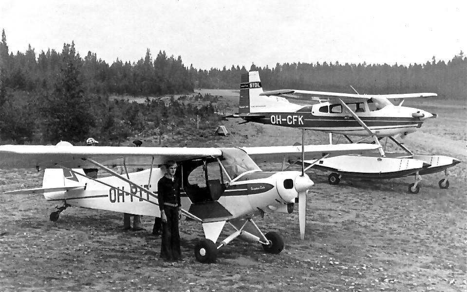 Piper PA-18-150 Super Cub OH-PIT & Cessna A185E Skywagon OH-CFK EFIK 1970s