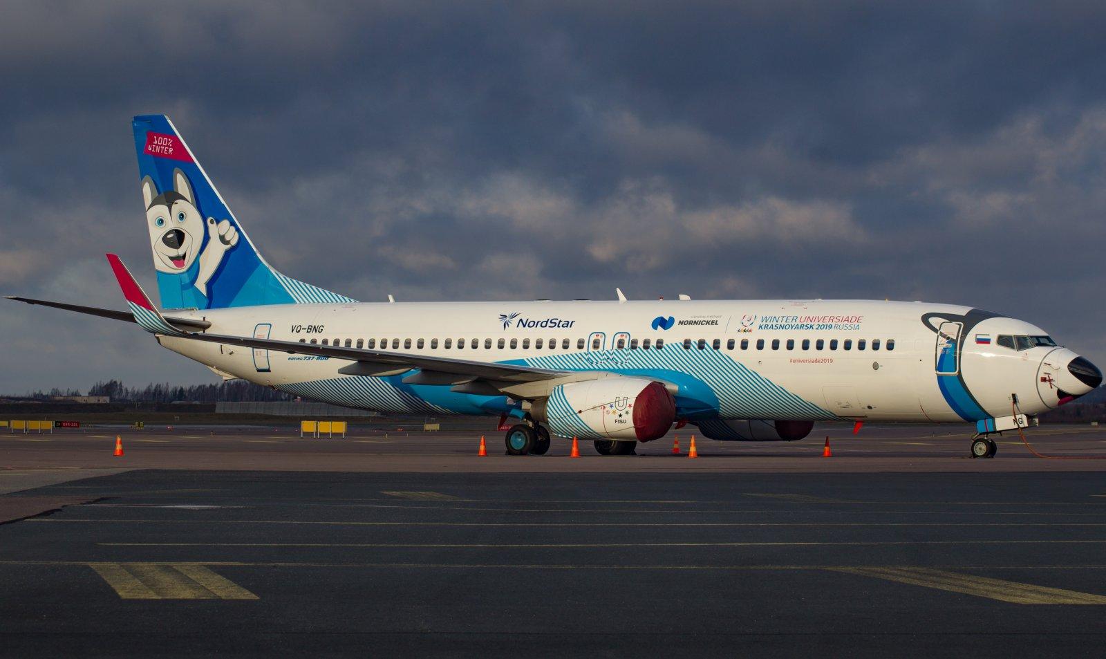"""Nord Star  B737-800 NG """"Winter Universiade Krasnoyarsk 2019 Russia"""" värityksellä."""
