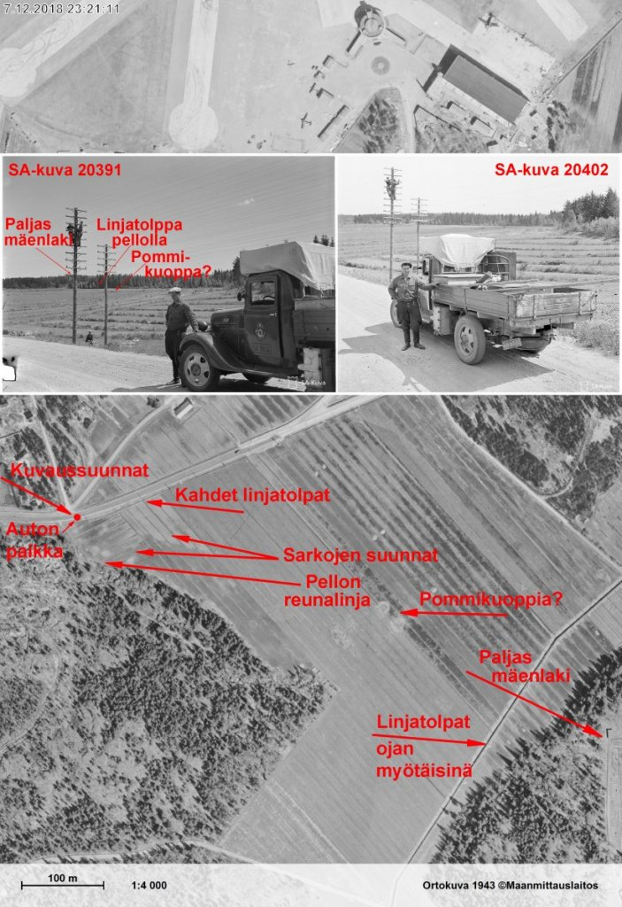 Posti- ja lennätinlaitoksen auto Malmin 25.061941 pommituksen jälkeen - Koostekuva.jpg