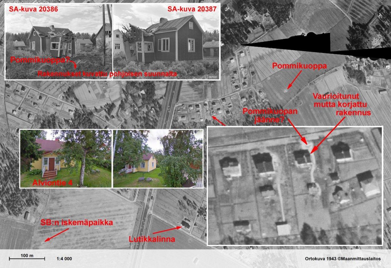 Puistolassa 25.06.1941 vaurioitunut pienrakennus - Koostekuva.jpg