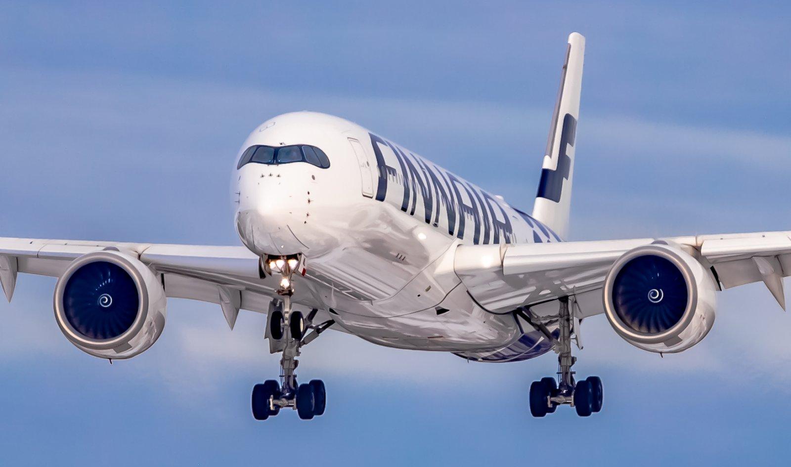 Finnair Airbus A350-900 landing to Helsinki